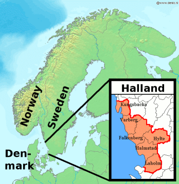 Map of Scandinavia with Halland