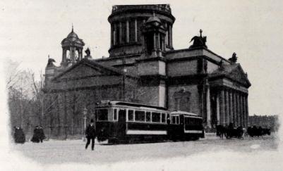 Elektrisk spårvagn vid Isakskyrkan.