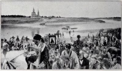 Ikonbilder föras i procession. (Efter en tafla af Prianichnikow).