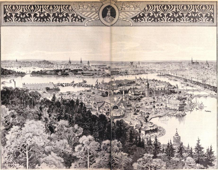 Vy af Stockholm från »Skansen» jämte i n. Konst- och Industriutställningen.<bFör »För Svenska Hem» af R. Haglund. Xylografi från W. Meyers atelier.