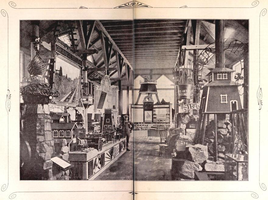 Interiör af Sveriges Grufutställnings paviljong. Efter fotografi för »F. S. H.» från Lindahls atelier. (Se sid. 107.)