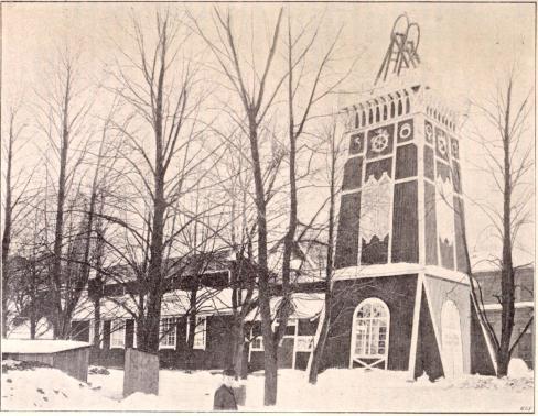 Sveriges Grufutställnins paviljong.<bEfter fotografi för »F. S. H.» (Febr. 1897) af B. Orling (se sid. 59 och 107).