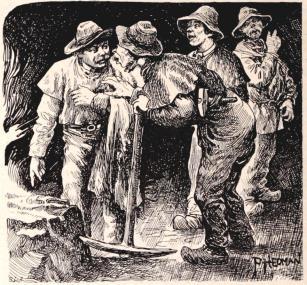 Interiörer från Skånska stenkolsgrufvan. Teckningar för »F. S. H.» af P. Hedman. (Se sid. 136).<bI. Grufarbetare i ett stenkolsschakt.