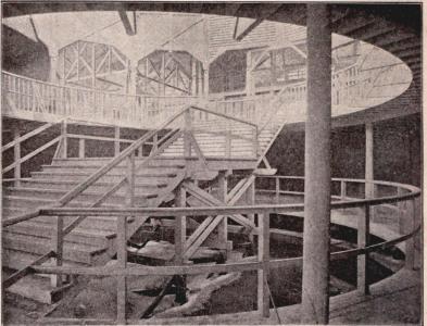Interiör af fiskeriutställningen med bassängen.<bEfter fotografi för »F. S. H.» af B. Orling, tagen under hallens byggnad (se sid. 100—106).