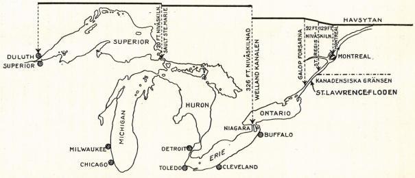 <smalDe stora sjöarnas vattensystem med S:t Lawrencefloden. Den övre brutna linjen anger nivåskillnaden inbördes och i jämförelse med havsytan.</smal
