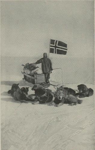 Wisting med sitt hundespann, fotografert på Sydpolen.