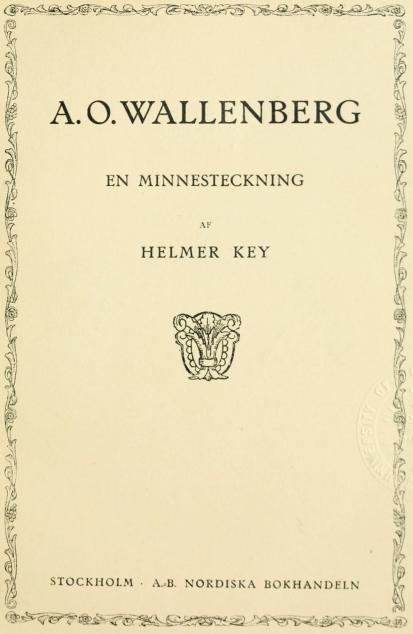 <bi<biA. O. WALLENBERG</bi</bi<bEN MINNESTECKNING<b<span class=