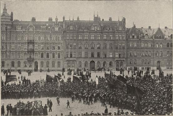 1 Maj-demonstration i Lund 1905.<b<smalFoto Jonns eftr., Lund.</smal