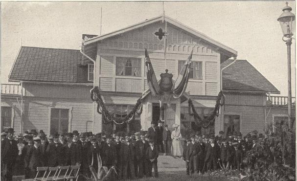 John Fröberg i Finspong håller fest för sina arbetare å 25:års-jubiléet.<b<smalFoto Grand Atelier, Norrköping</smal