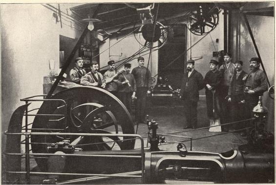 Maskinrummet å Skofabriken, Vänersborg.<b<smalFoto Wikner, Vänersborg.</smal