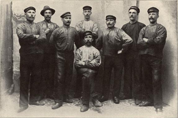 Arbetare vid Avesta Järnverk.<b<smalFoto Ståhl, Avesta.</smal