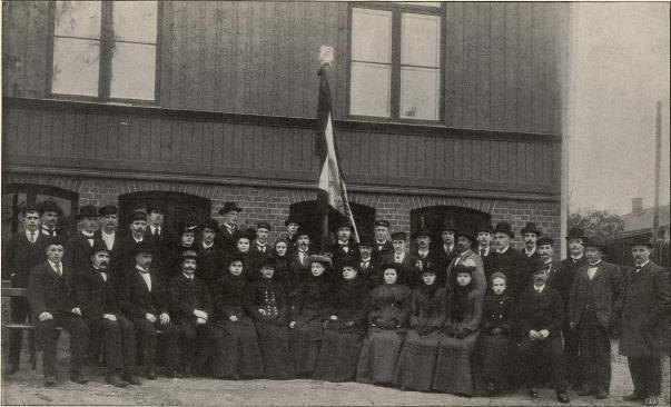 Verdandister vid Folkets Hus, Borås.<b<smalFoto Hall, Borås.</smal