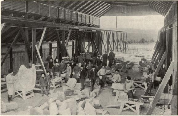 Arbetare vid stenhuggeriet, Orsa.<b<smalFoto Winbergh, Orsa.</smal