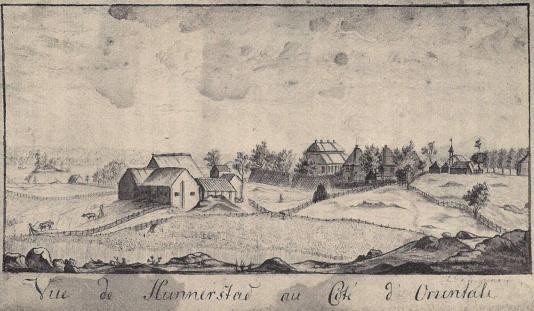 Hunenrstad från öster.Lavering från 1700-talet. Tillhör friherrinnan Lotten Armfelt, född Hultin.