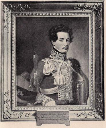 MAGNUS WILHELM ARMFELT (1797-1878).<bOljemålning af S. Lind. Tillhör friherrinnan A. Schröderheim, född Armfelt.