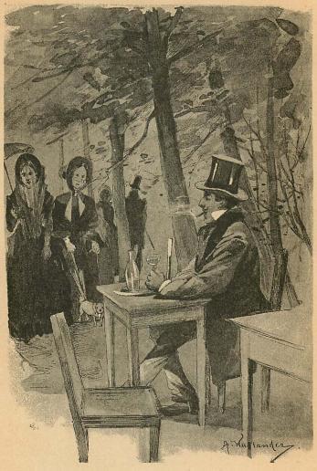 Utanför konditoriet satt en ung man med punschglaset i handen.