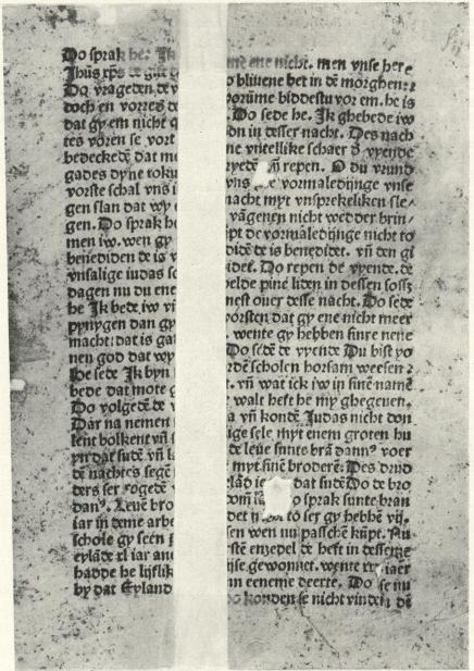 Fig. 1. VAN SUNTE BRANDANUS.<bLübeck: Johan Snell. Fragment af bl. 14 a.