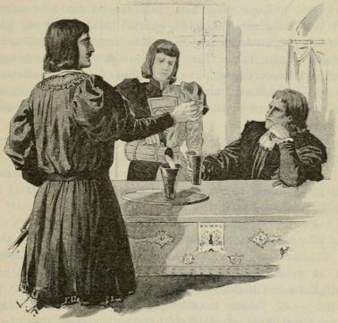 Kertilsvennen kom med vinet och kredensade det för de båda herrarne. (Sid. 68.)