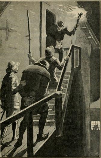 <smalIll. J. N.[=Jenny Nyström]</smal<bHär sköt den lille fackelbäraren upp en dörr och en smal gångbro af trä<bvisade sig. (Sid. 362.)