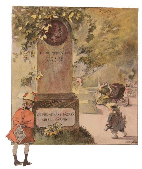 Elias Sehlstedt<bFödd 8/2 1808<bDöd 22/6 1874<b<bVänner af hans sångmö reste vården.