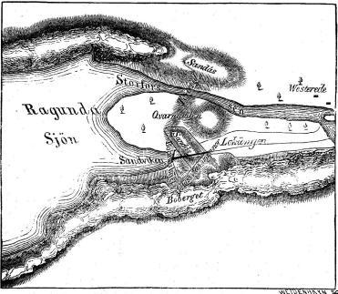 Karta öfver Ragundasjön och Storforsen.