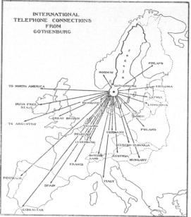 Map of Europe, showing telephone connections with Sweden.