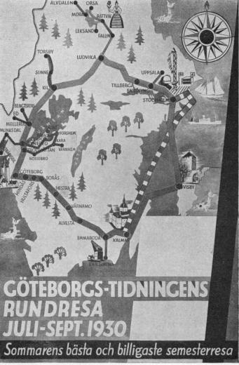 GÖTEBORGS-TIDNINGENS RUNDRESA JULI-SEPT. 1930<bSommarens bästa och billigaste semesterresa
