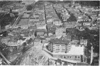 An aerial view of Otterhall School, Cathedral, General Post<bOffice and German Church by Aero Materiel A.B. No. C. 792.