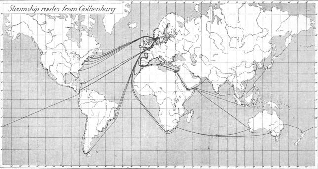 Steamship routes from Gothenburg