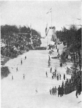Ski-ing sport at Slottsskogen on 9th February 1930