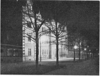 Chalmers Institute lit up at night before the Students marched to their New Institute which was officially opened by His Majesty King Gustav