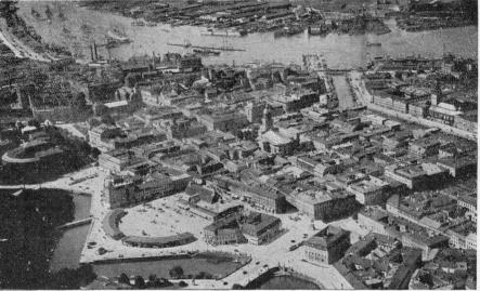 An aerial view of Gothenburg taken by the Swedish Industrial Fairs photographer