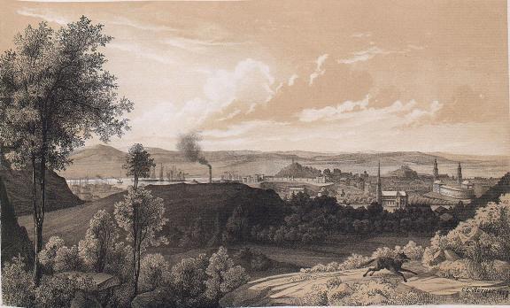 <smalIll. C. G. Berger. 1859.</smal<bTryckt och förlagt af Meyer & Köster. Lithogr. Atel. i Götebg.<b<biGÖTEBORG</bi<bWestra Delen