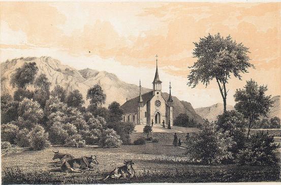 <smalIll. Ludvig Messmann. 1861.</smal<bTryckt och förlagt af Meyer & Köster. Lithogr. Atel. i Götebg.<b<biJONSERED KYRKA.</bi