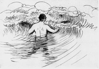 Karl Bourgström går ut i brottsjön efter en skjuten and.