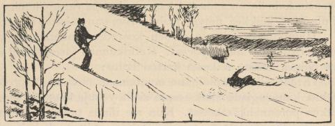 <smalIll. E. N.[=Eivind Nielsen]</smal<bMäenlasku vanhalla tavalla.<b(Piirtänyt Edvind Nielsen.)