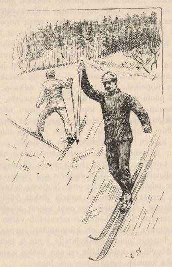 <smalIll. E. N.[=Eivind Nielsen]</smal<bYlä- ja alamäkeen uudenaikaisella tavalla.<b(Piirtänyt valokuvan mukaan Edvind Nielsen.)