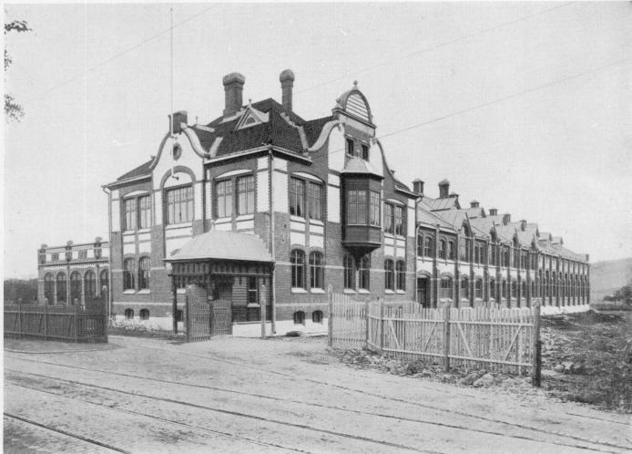 Trafikkontor, verkstäder och vagnhall vid Stampgatan 1902