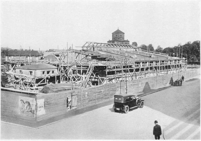 Omnibusgaraget vid Friggagatan, under byggnad aug. 1929