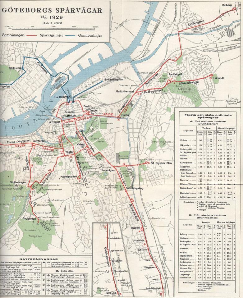 Bilaga 3. Karta över spårvägsnätet År 1929