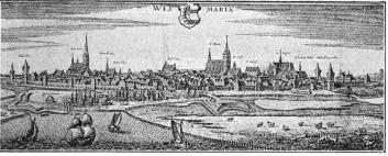 Wismar. (Efter Merians kopparstick.)