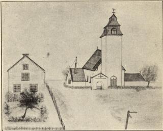 Årdala kyrka och klockargård. Teckning av Axel Strindberg.