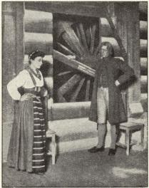 Harriet Bosse som Kersti och Gunnar Wingård som Mats i »Kronbruden».<b
