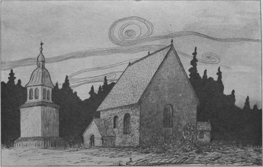 Högsjö gamla kyrka. Å teckningen af kyrkplatsen är insatt bilden af den stapel, som förr funnits vid<bkyrkan, men nu är uppsatt vid Viksjö kyrka.