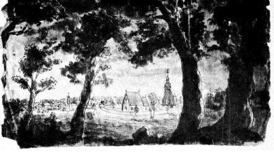 """Virestads gamla kyrka. """"Utsigten från Caielund"""".<bAkvarell 1790. Tidigare Direktör och Fru Olof Kullberg-Mayer."""