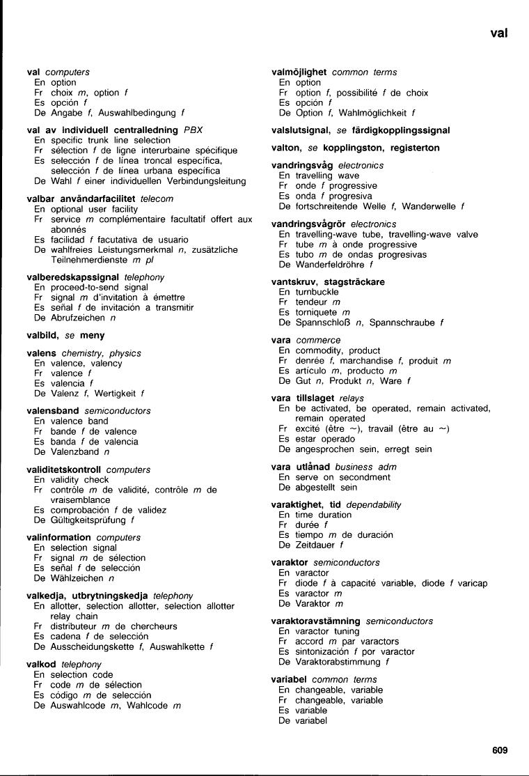 609 (Eriterm : femspråkig ordlista för telekommunikation