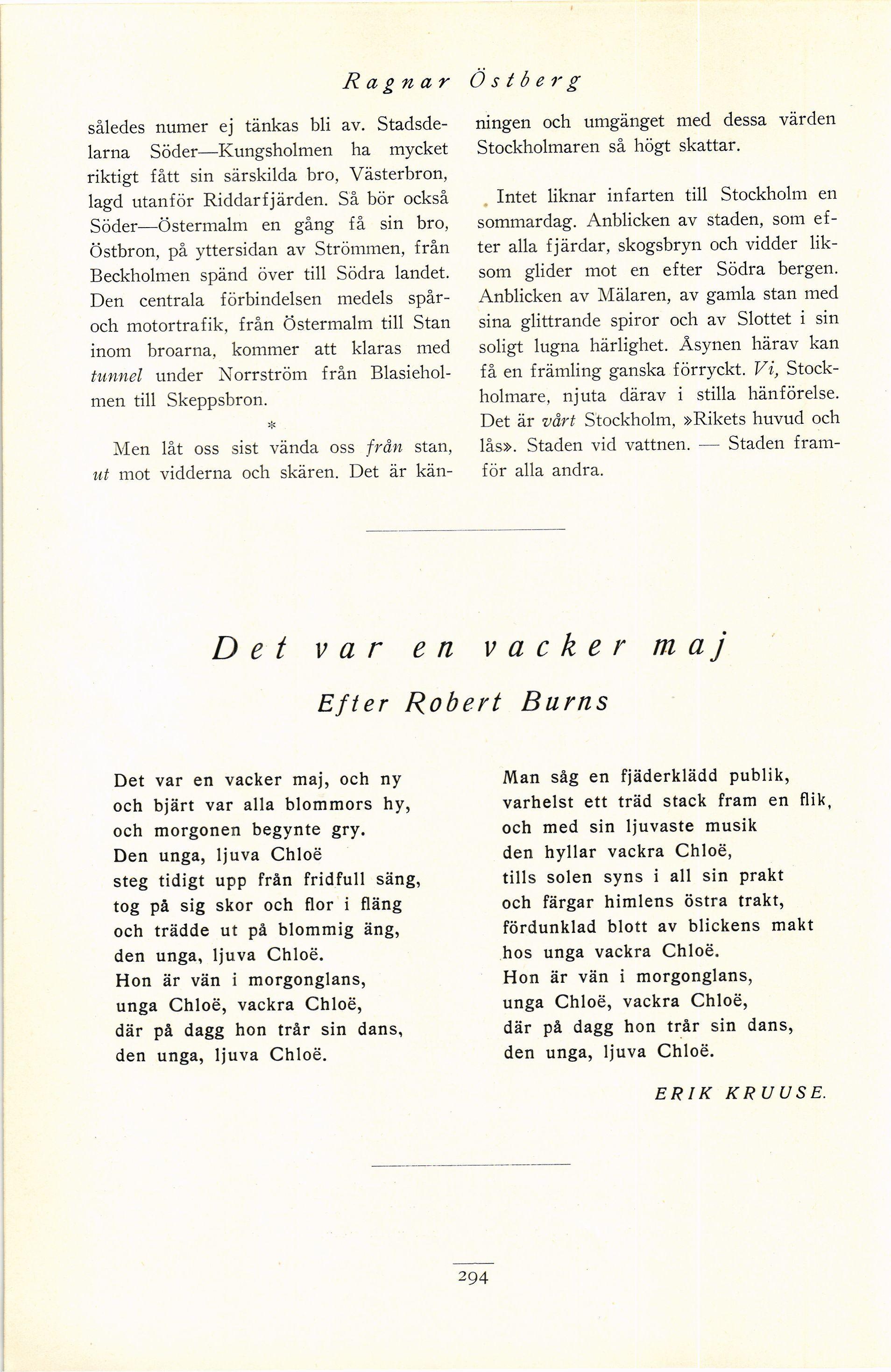 fcd21b6b333c Av Ragnar Östberg - Det var en vacker maj. Efter Robert Burns. Översatt av  Erik Kruuse