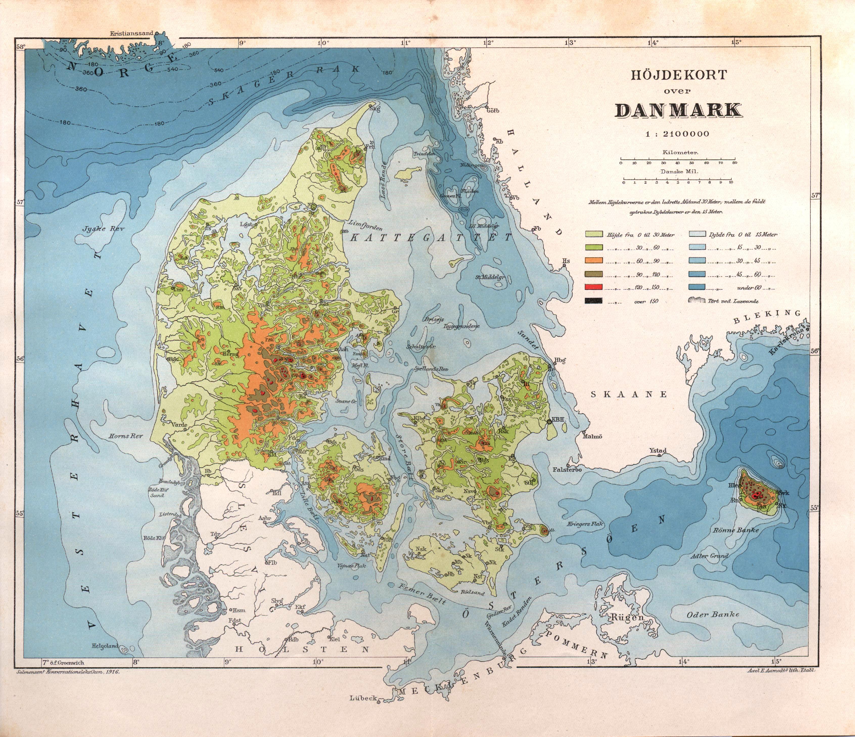 Hojdekort Over Danmark Salmonsens Konversationsleksikon Anden