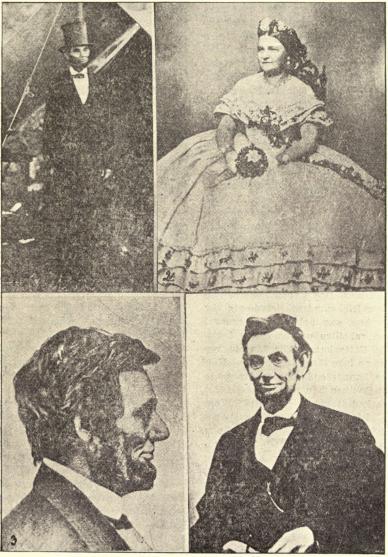 1 — Lincoln framför gen. McClellans tält den 3 okt. 1862.<b2 — Mrs. Lincoln, mars 1861.<b3 — Lincoln, mars 1861.<b4 — Lincolns sista porträtt, taget i april 1865, några dagar fore hans död.