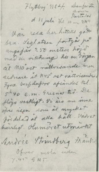 <bDen första boj posten,  som kastades den  ii  juli kl. 22 och återfanns<b<bpå norska finnmarkskusten den 27 aug. år 1900. Nu i Statens historiska<b<bmuseum i Stockholm.